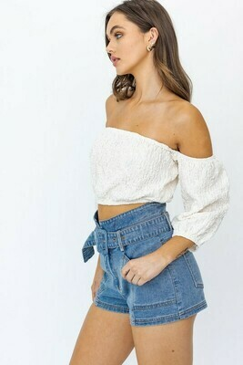 Cream Bubble Off Shoulder Crop