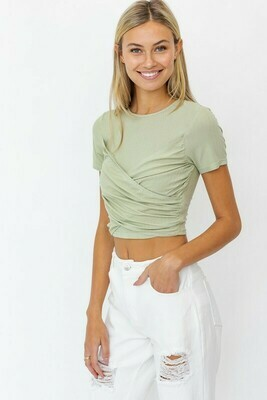 Sage Short Slv Wrap Top