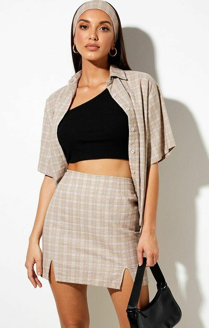 Taupe Checkered Mini Skirt