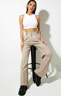 Taupe Checkered Trouser Pants