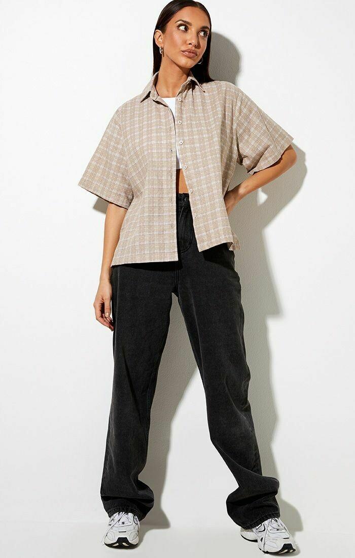 Taupe Checkered Collared Shirt