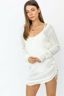 Scoop Neck Shirring Sweater Dress