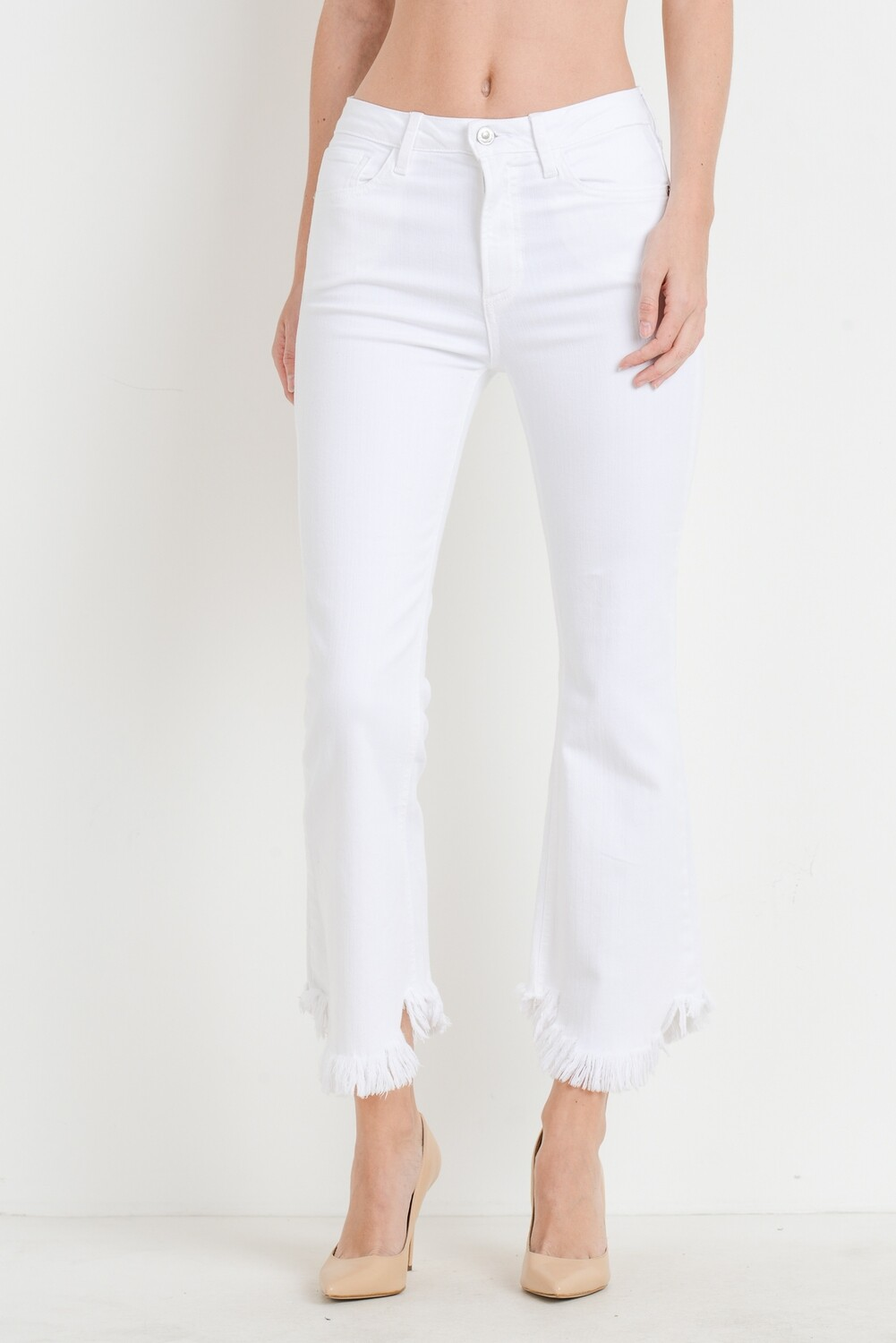 White Cropped Flare Curve Hem Denim