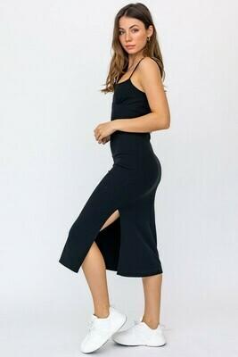 Black Basic Ribbed Slit Midi Dress