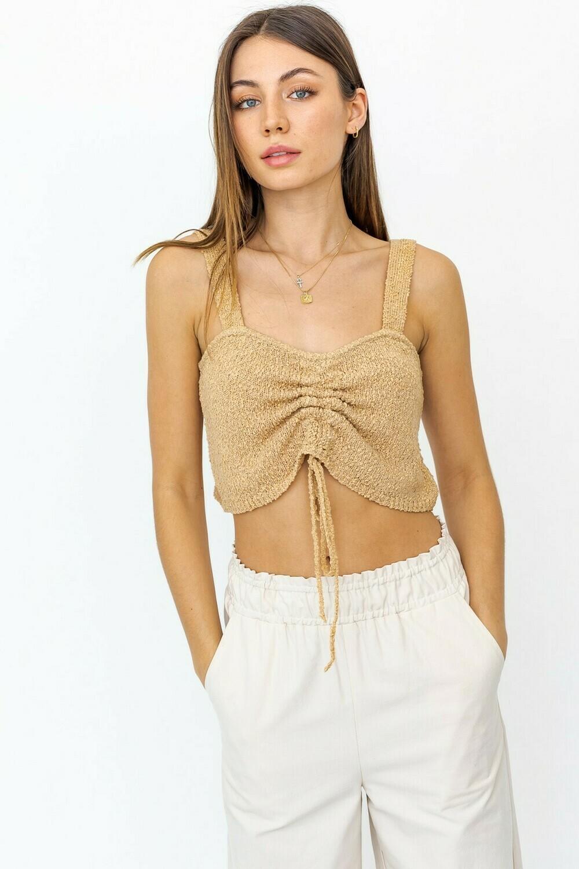 Shirring Sweater Crop Top