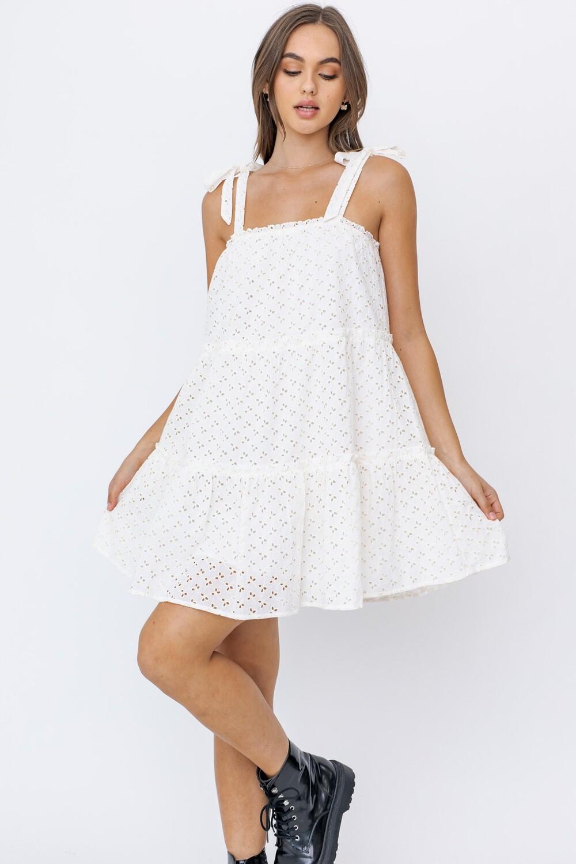 Natural Eyelet Tiered Mini Dress