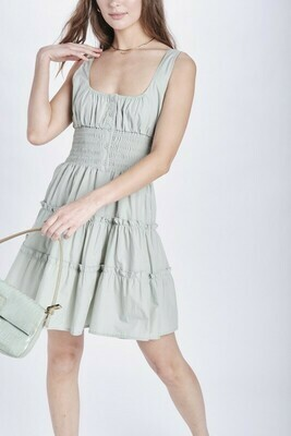 Sage Smocked Waist Tiered Dress