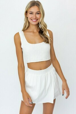 White Smocked Crop Top