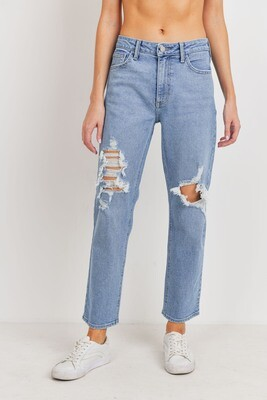 Light Denim Destroyed Straight Legs Jeans