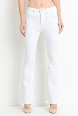 White High-Rise Frayed Hem Flare Jeans