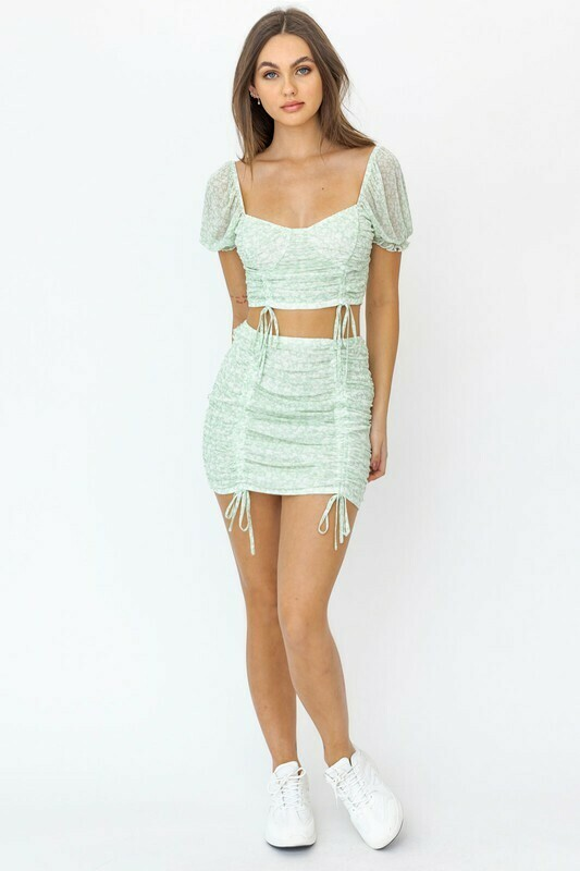 Green Floral Ruched Mesh Top