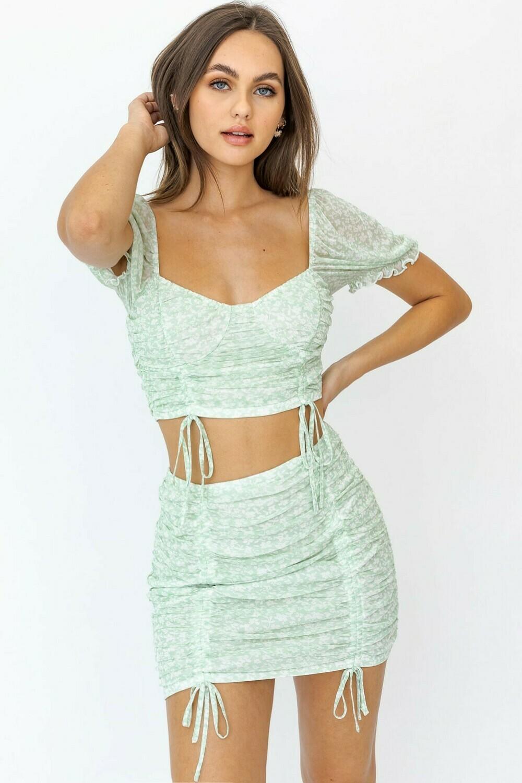 Green Floral Mesh Mini Skirt