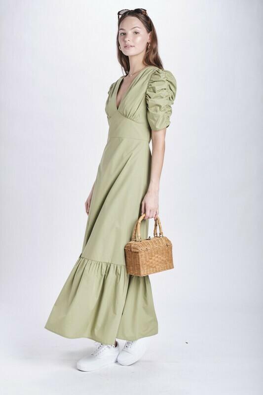 Green Ruched Puff Slv Maxi Dress