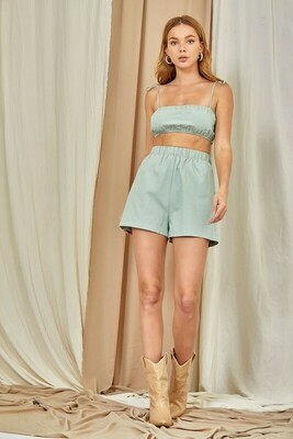 Sage Tie Back Crop Top