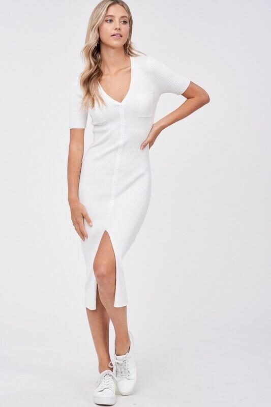 White Midi Sweater Dress