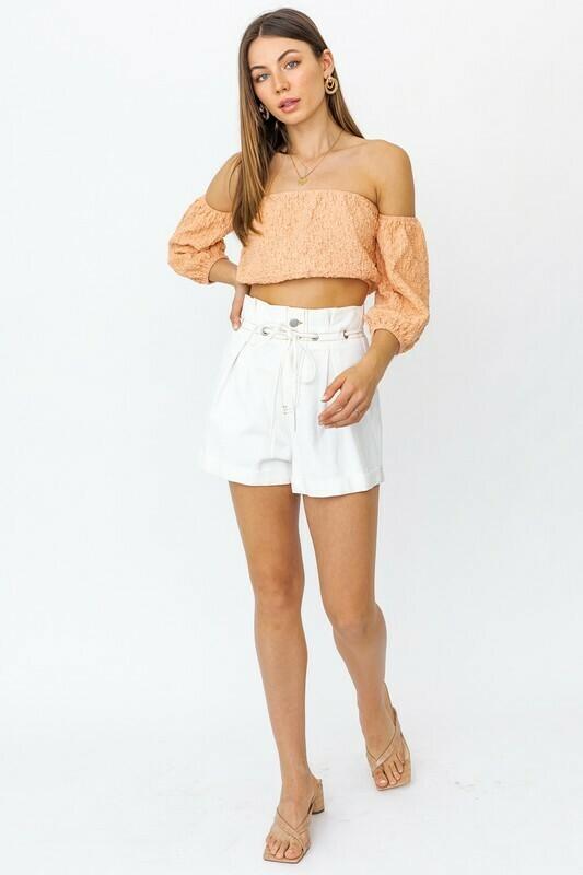 White Denim Paper Bag Shorts