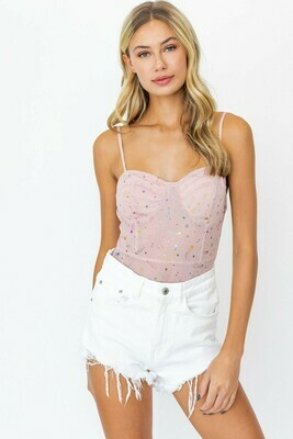 Pink Multi Star Lace Bodysuit