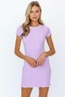 Lavender Reverse Stitch Mini Dress