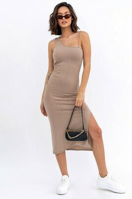 Taupe Ribbed Cutout Midi Dress
