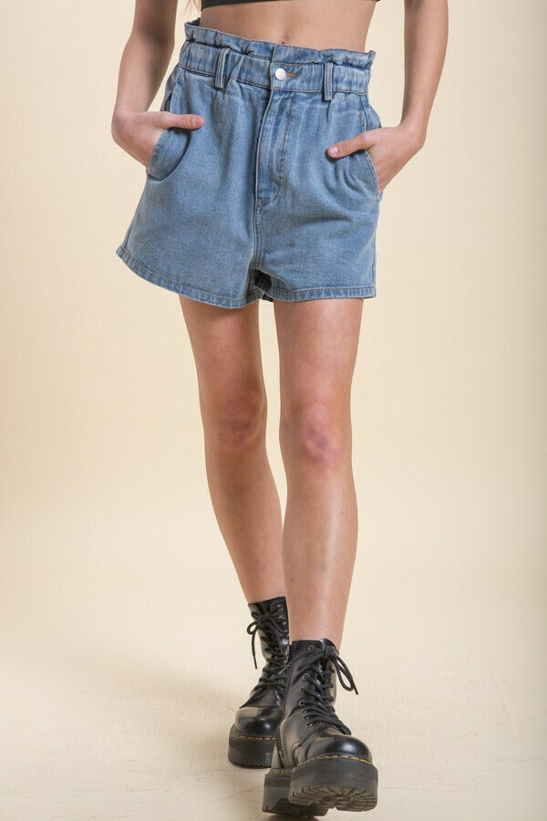 Blue Paper Bag Denim Shorts