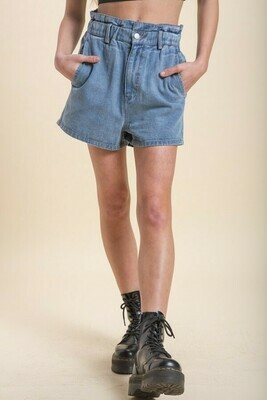 Blue Paper Bag Denim Shorts