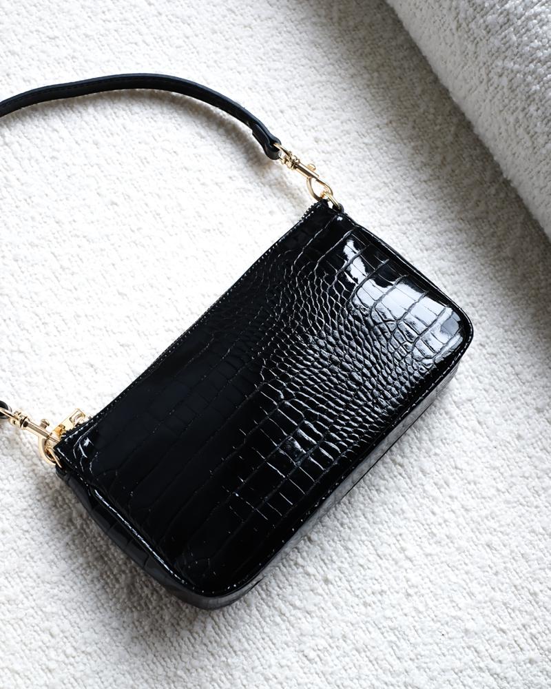 Black Croc Shoulder Bag