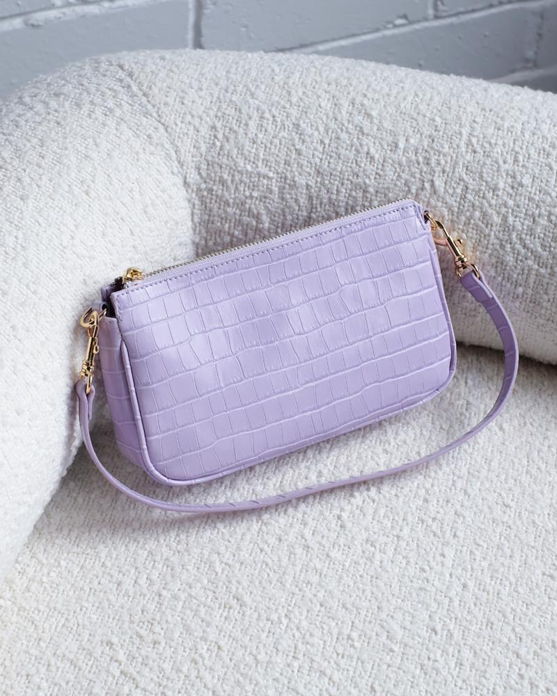 Lilac Croc Shoulder Bag