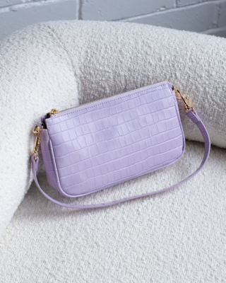 Lilac Croc Shoulder Bag
