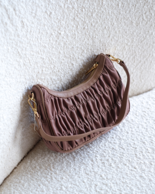 Taupe Nylon Shoulder Bag