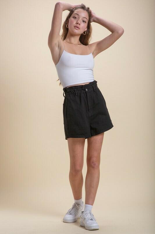 Black Paper Bag Denim Shorts