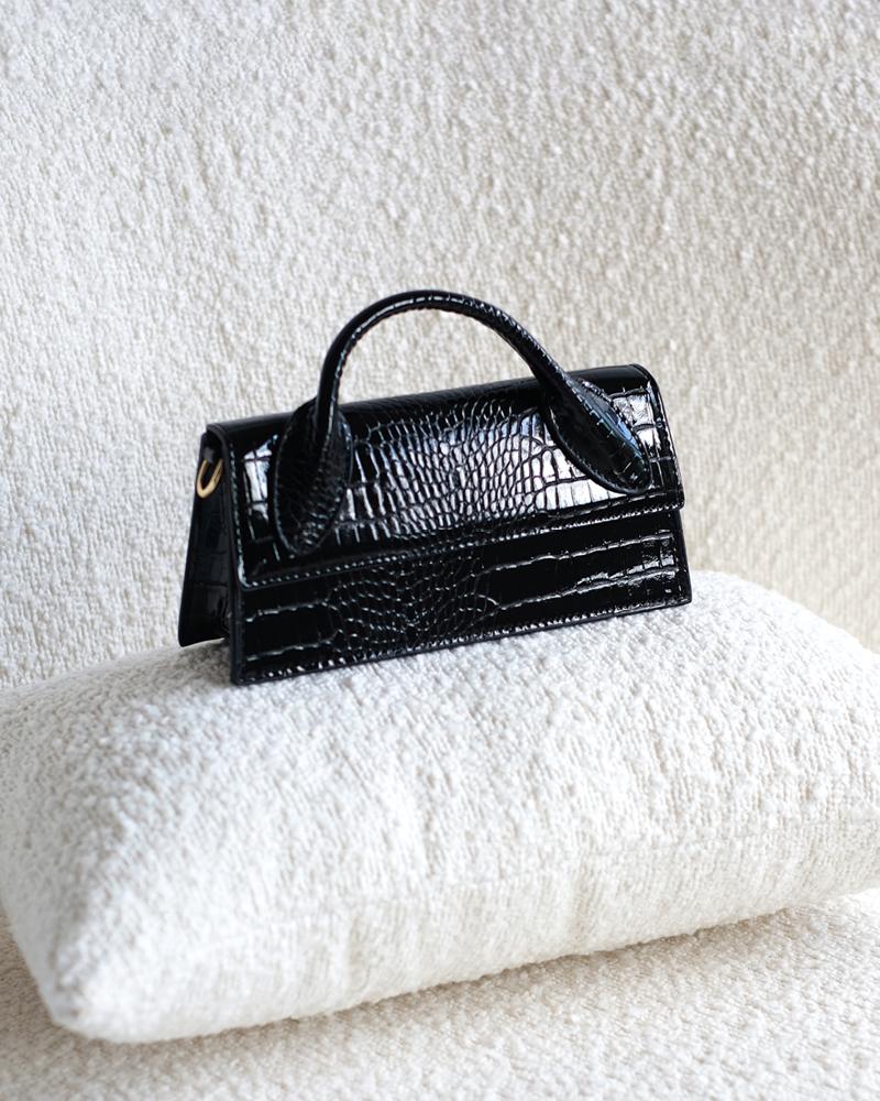 Black Patent Croc Mini Bag