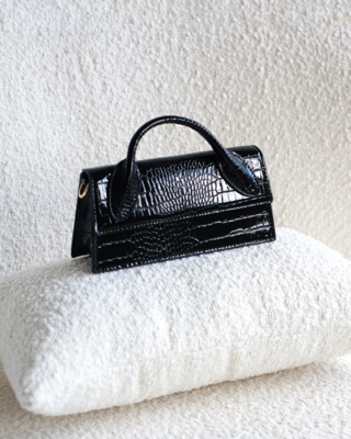 Black Patent Croc Mini Bag