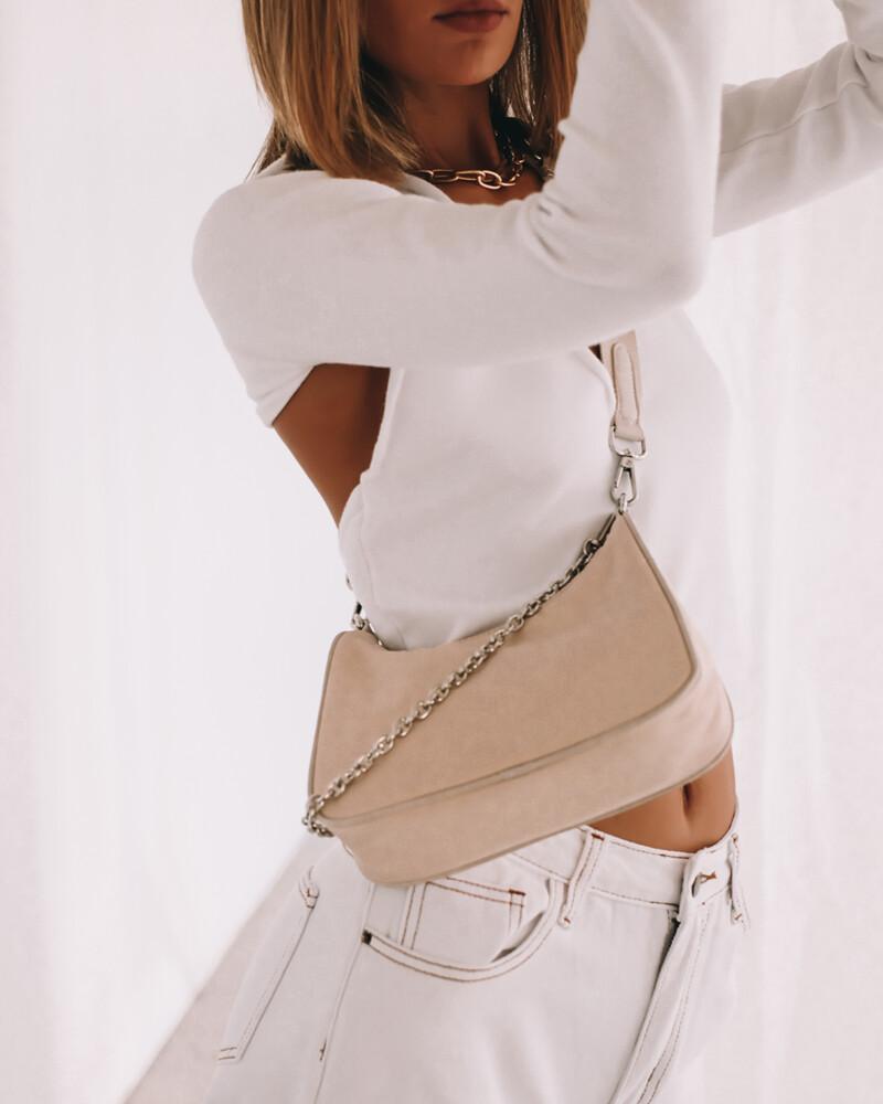 Beige Nylon Crossbody Bag