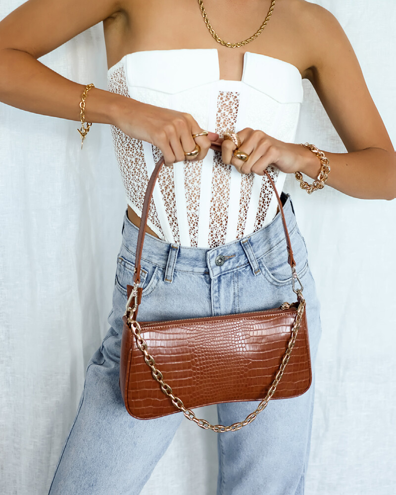 Tan Croc Rose Shoulder Bag