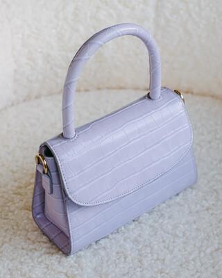 Lilac Croc Liv Shoulder Bag