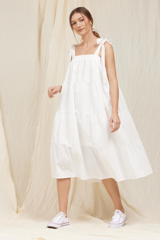 White Tiered Poplin Dress