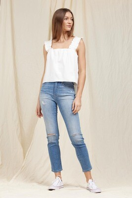 White Ruffled Poplin Top