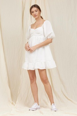White Pintuck Mini Dress