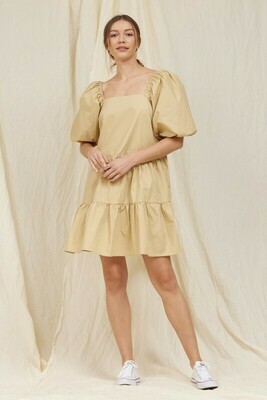 Tan Puff Sleeve Poplin Dress