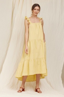 Yellow Flutter Slv Tiered Dress
