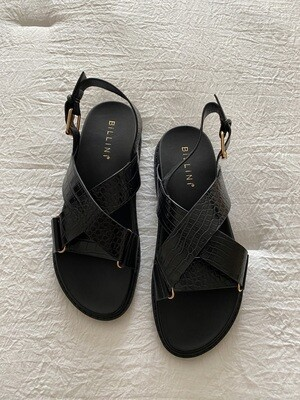 Black Croc Dad Sandals