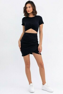 Black Short Slv Front Twist Dress