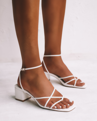 White Small Heel Criss Cross Sandal