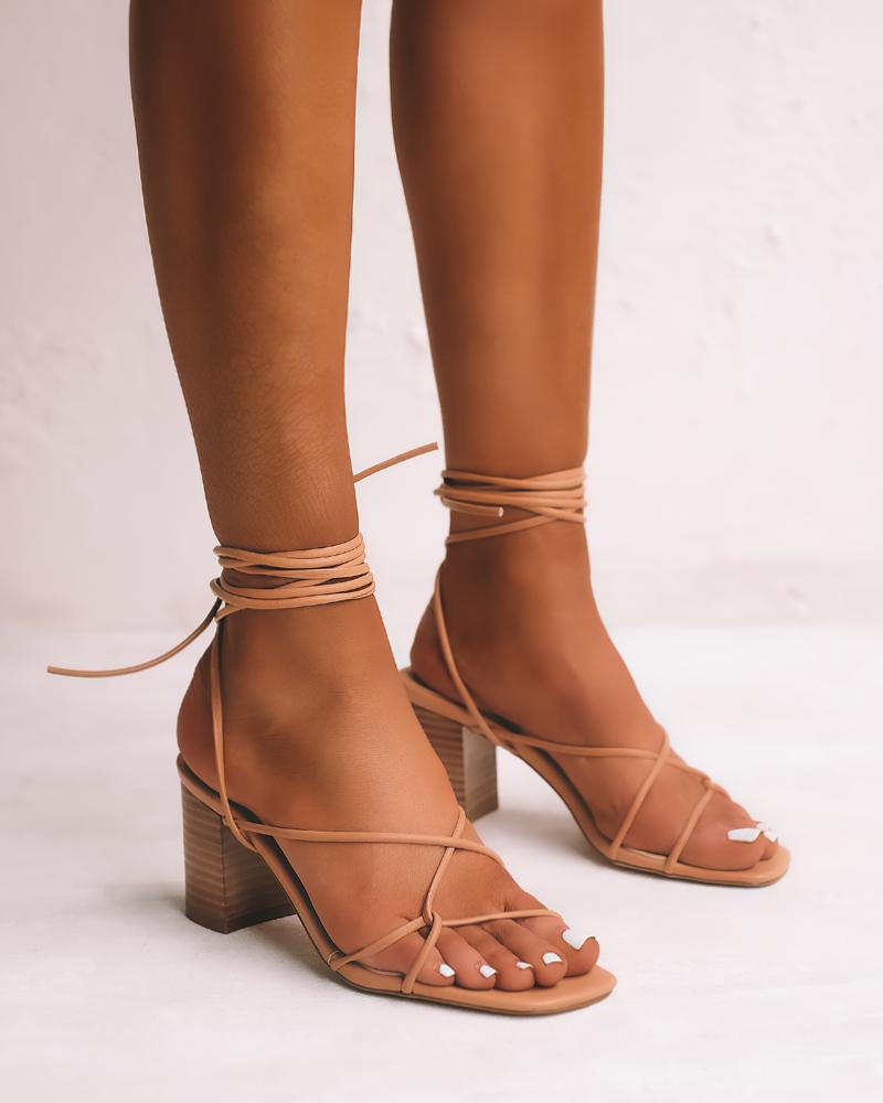 Desert Wrap Wooden Heel Sandals