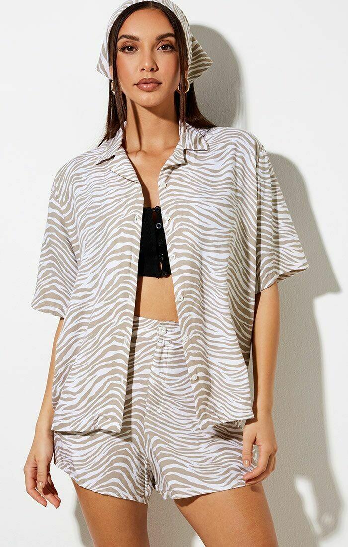 Tonal Zebra Collared Shirt
