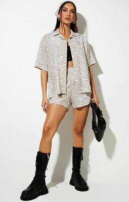 Tonal Zebra Pintuck Shorts