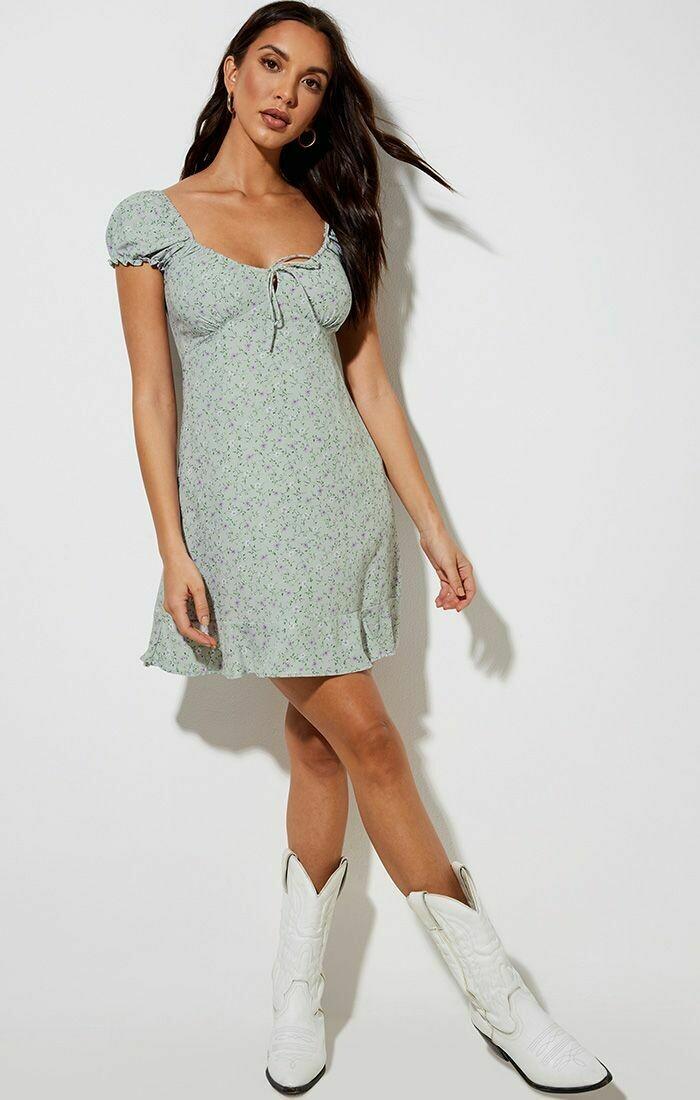Violet Sage Puff Slv Dress