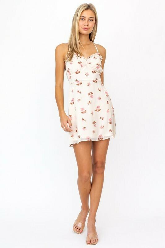 Cream Pink Floral Open Back Dress