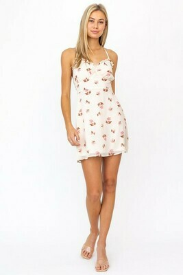 Cream Pink Floral Open Back Dress
