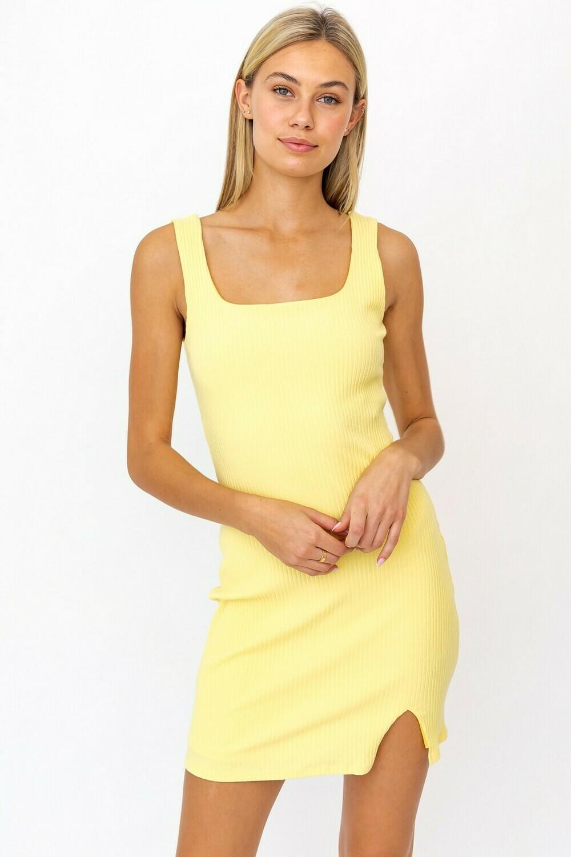 Yellow Square Neck Bodycon Dress